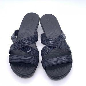 Womens Crocs Black Strap Slide Sandals 11